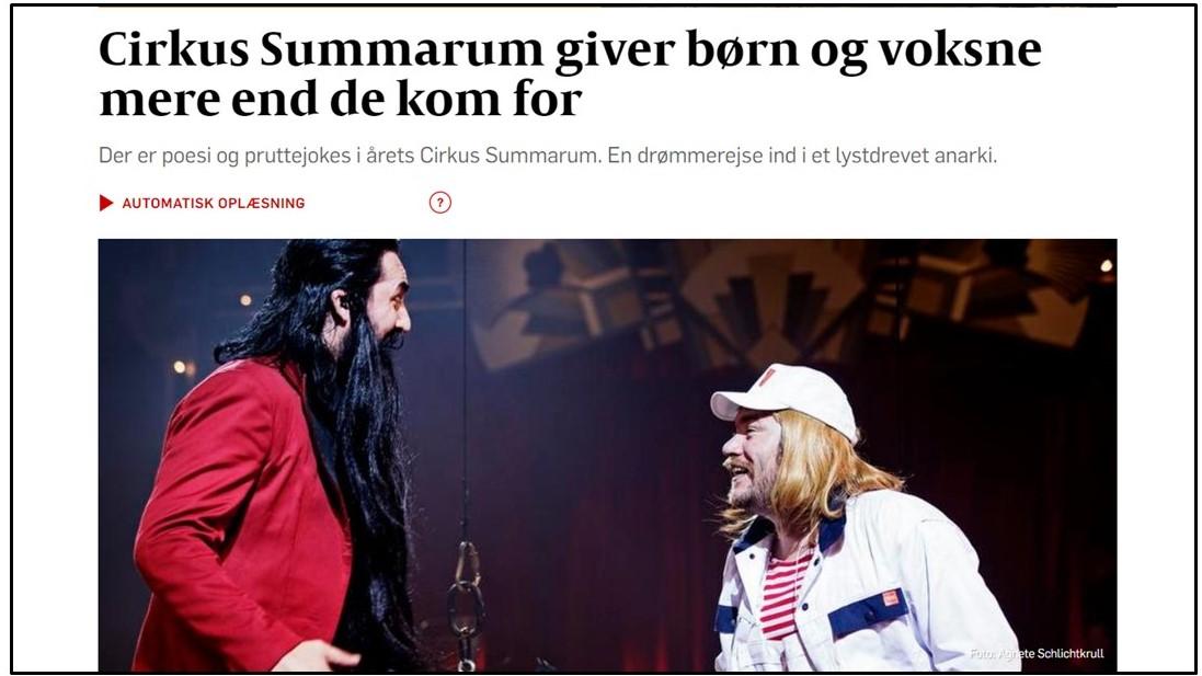Politiken artikel om Cirkus Summarum